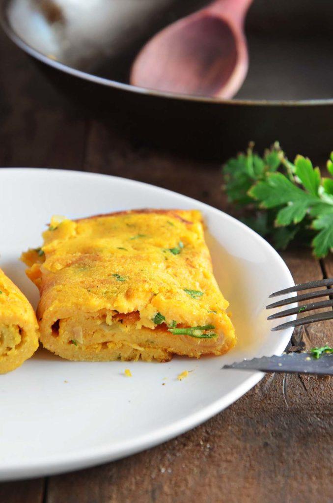 Omelete de grão de bico detalhe