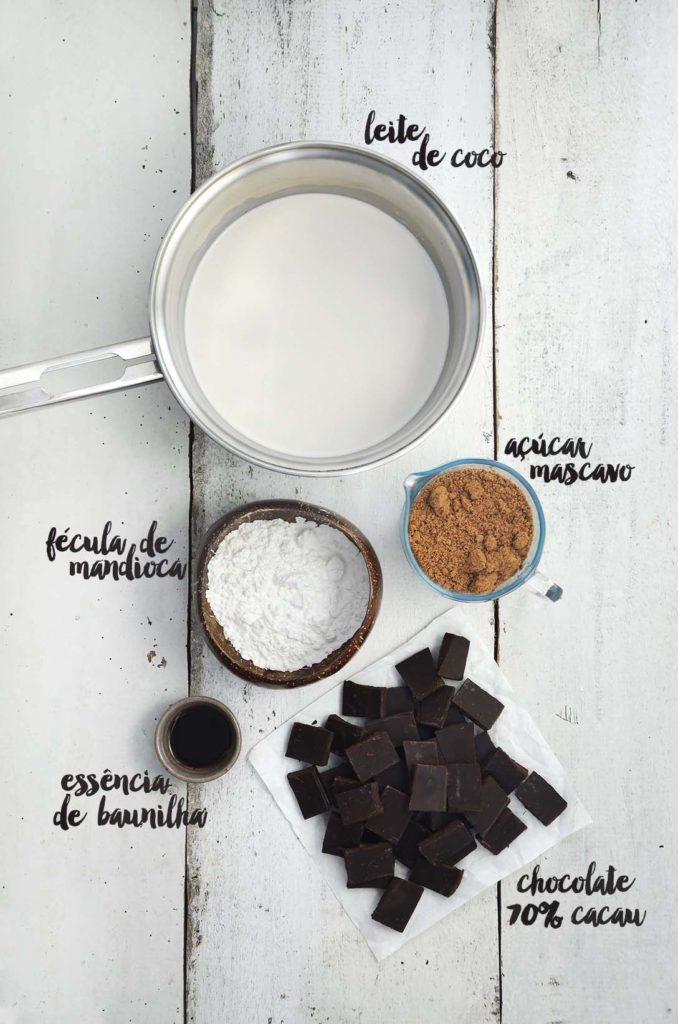 Ingredientes recheio chocolate.