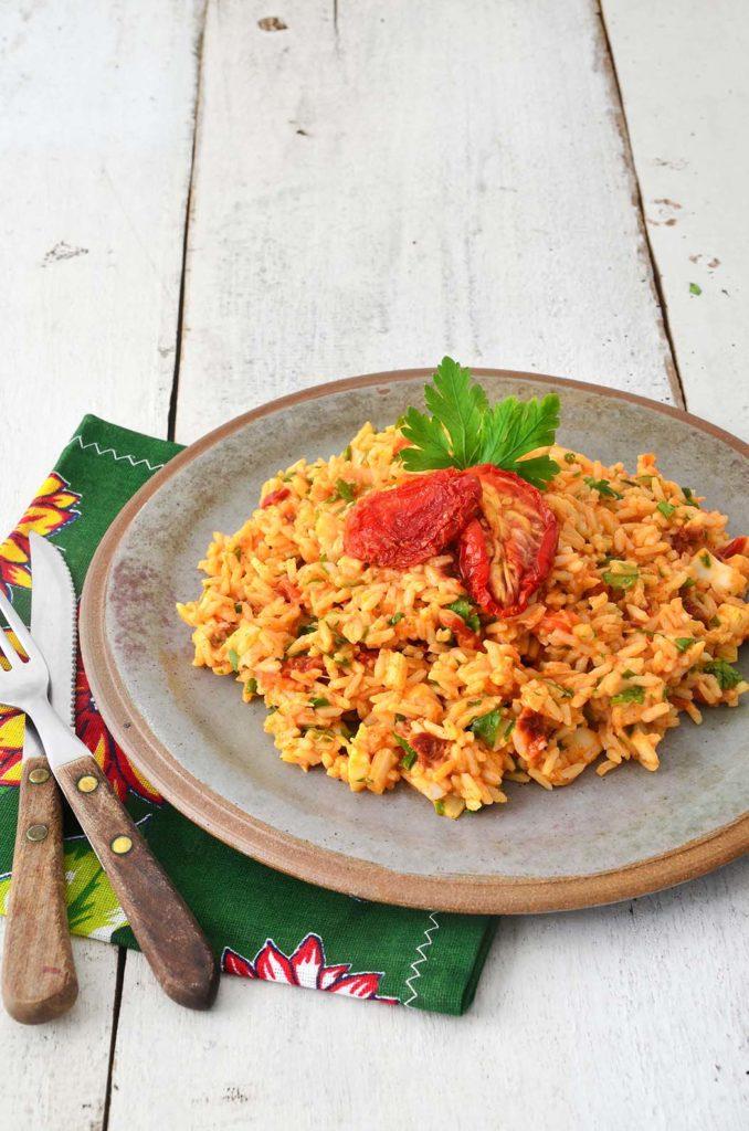 Risoto de palmito com tomate seco