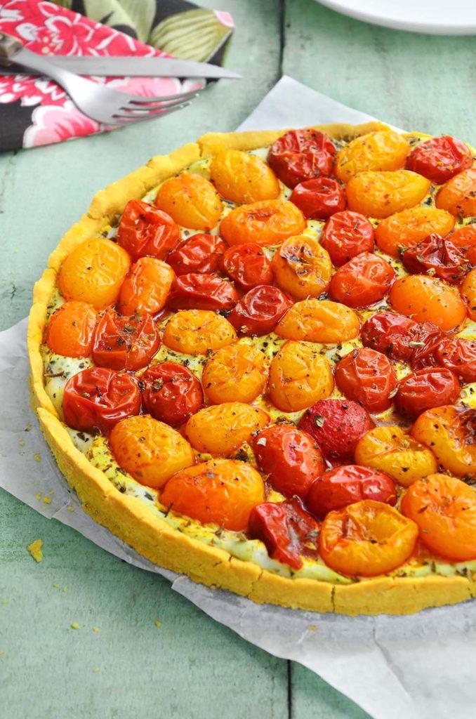 torta de tomates assados sem glúten